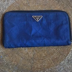 Vintage Prada blue quilted nylon wallet